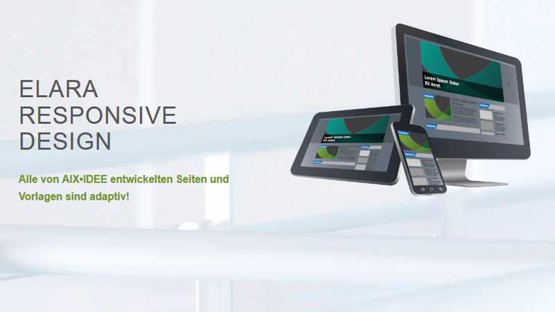 Drei Devices mit adaptiven Web Design Content