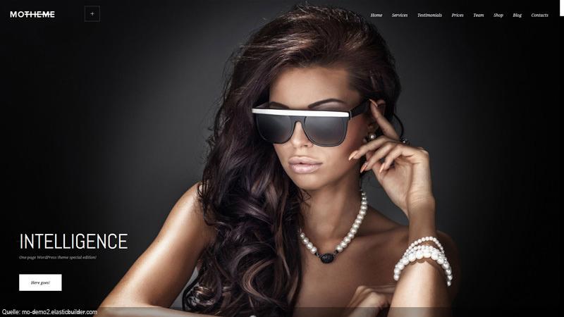 MoTheme Starterpage für Model mit Brille mit Unterstützung aus Alsdorf.
