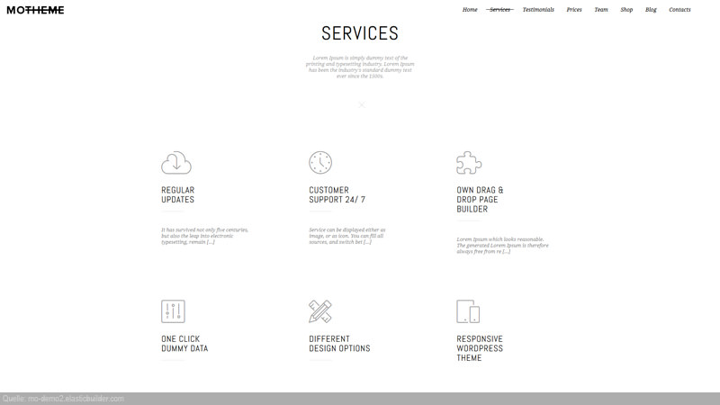 MoTheme Blurbs mit Icons, Titel und Text!