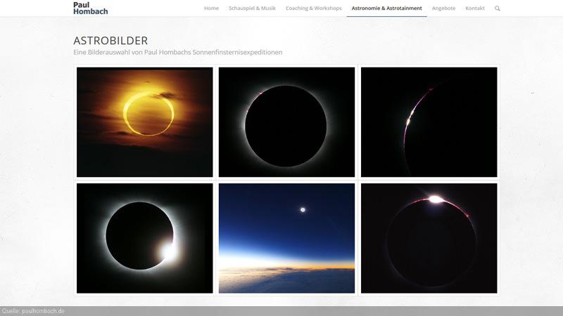 Bildgallerie mit Astronomiebildern der Referenz von Paul Hombach.