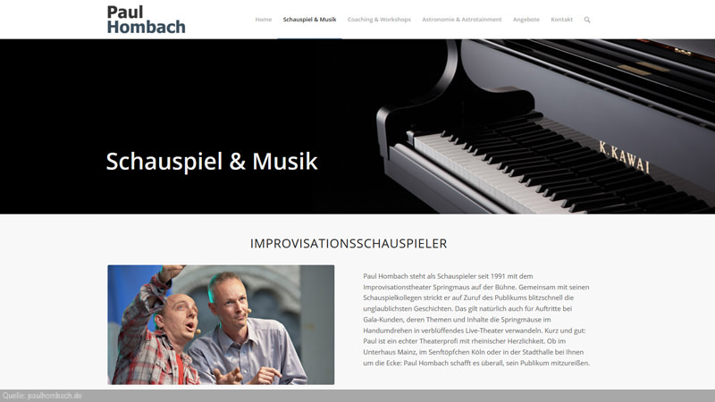 Inhaltseite von paulhombach.de mit Klavier und Bild einer Bühnenshow.