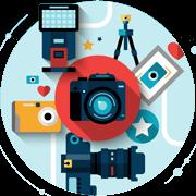 Illustration mit Fotapparat, Objektiven, Fotostudio & Blitz für Fotografie Alsdorf