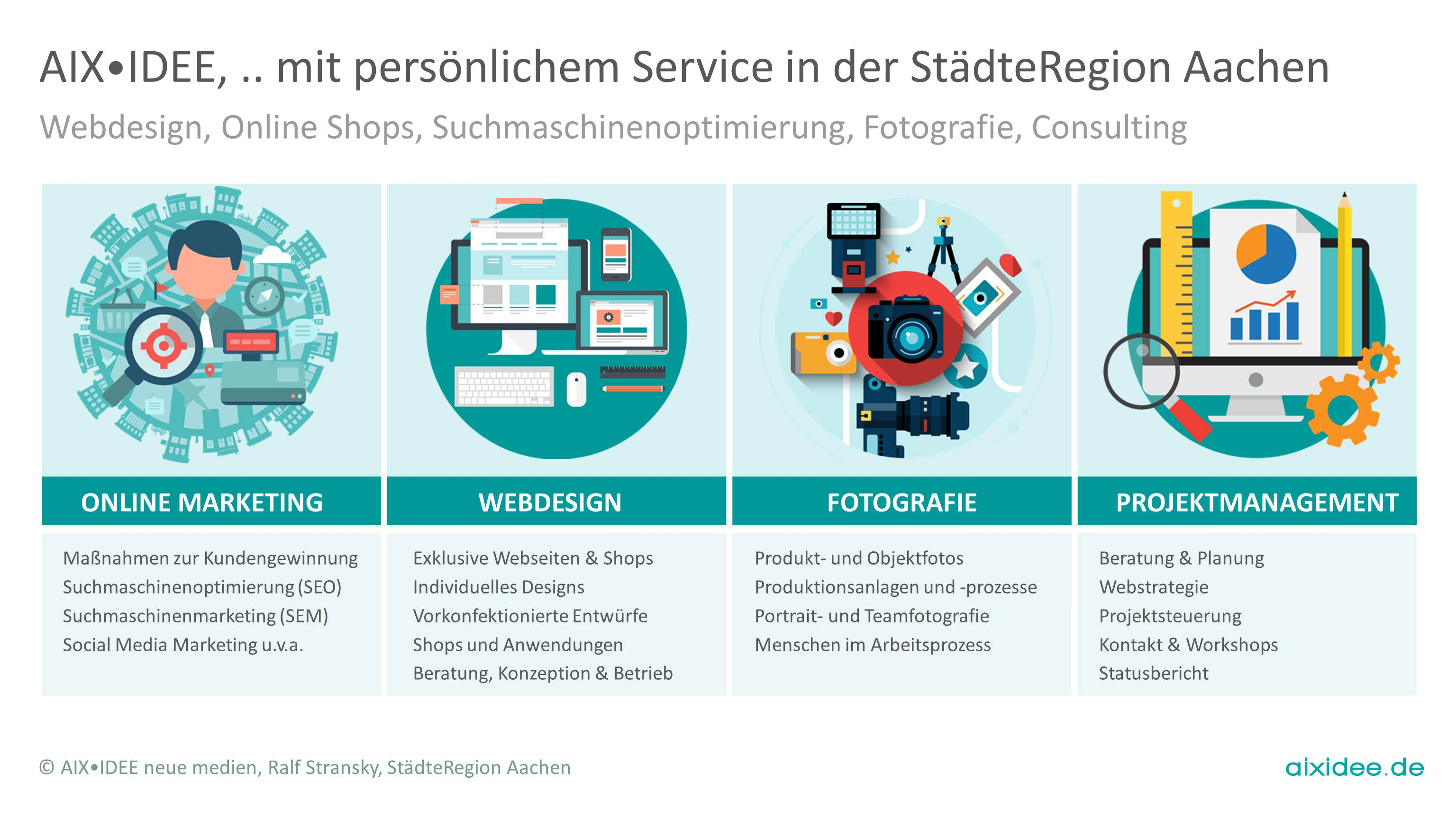 Webdesign, Online Shops, Suchmaschinenoptimierung, Fotografie, Consulting